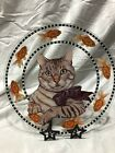 13 Hand Painted Glass Cat Platter signed by Joanne West