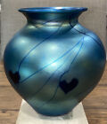 Studio Art Glass Blue HEARTS  VINES Iridescent Luster VASE 6H Stunning Blues
