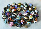 Large 12mm Vintage MORETTI Murano Millefiori Glass Beads 24 Long Necklace ITALY