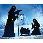 Outdoor Solar Christmas Decoration Nativity Shadow w LED Lantern Garden Stakes