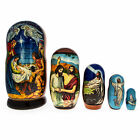 Set of 5 Jesus is Born Nativity Scene Russian Nesting Dolls Matryoshka