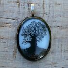 Black and White Spiritual Tree of Life Fused Dichroic Art Glass Jewelry Pendant