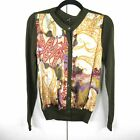 Etro Silk Front Scarf Cardigan Sweater Olive Green Italy IT 44 US 8