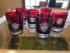 WATERFORD CRYSTAL SNOW CRYSTALS RUBY RED DOF SET OF 6 MINT Plus matching Bell