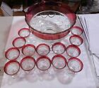 Indiana Glass Lexington Ruby Red Flash Punch Bowl  14 Pedestal Cups South Bend