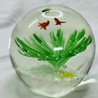 STUDIO ART GLASS GOLDFISH AND GREEN FLOWER LARGE 3 1 2 PAPERWEIGHT