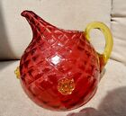 SPECTACULAR ART GLASS Cranberry  Vaseline  HONEYCOMB  WATER PITCHER