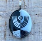 Black and White Spiritual Menorah Fused Dichroic Art Glass Jewelry Pendant