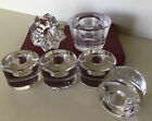 ORREFORS Set Of Six Crystal Tea Light Candle Holders Made In Sweden