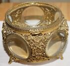 Vintage Large Gold Footed Jewelry Box with Beveled Glass