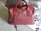 MILANI GENUINE WOVEN LADIES LEATHER SATCHEL PURSE MADE IN ITALY WINE NEW