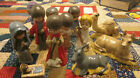 Hand crafted Antiquing glazed bisque ceramic children characters nativity set