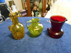 Three vintage beautiful miniature crackle glass pitchers