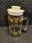 Pyrex Butterfly Gold Juice Martini Pitcher Carafe w OEM Lid EC