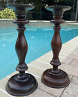 Pottery Barn Wood And Metal Turned Wood Pillar Candle Holders Large 165