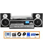 Trexonic 3 Speed Vinyl Turntable Home Stereo System with CD Player FM Radio BT
