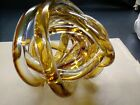 ABSTRACT BLOWN GLASS ART DECOR TWISTED ROPE KNOT PAPERWEIGHT GOLD CLEAR