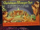 Vintage Christmas Manger Nativity Set Cardboard Die Cut Out Stand Up USA 743