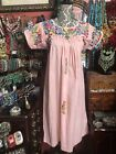 Very Pretty Vintage Pink Oaxacan Mexican Embroidered Dress Size S M