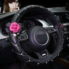 Rose Flower Car Interior Crystal Leather Steering Wheel Cover Seat Belt Sets