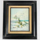 VINTAGE beach seascape coast ocean original hand painted oil Painting Signed