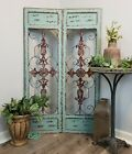 Distressed Antique Vintage French Wood Metal Garden Gate Door Set 2 Wall Panel