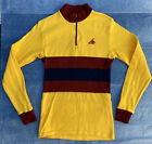 Vintage 80s Cannondale Long Sleeve Colorblock Cycling Jersey Small Yellow Red