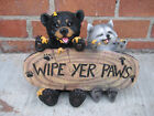 Bear and Raccoon WIPE YER PAWS Figurine STATUE Figurine Sculpture Home decor