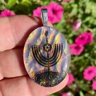 Red Pink Black Spiritual Menorah Fused Dichroic Art Glass Jewelry Pendant s