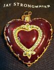Jay Strongwater BE JEWELED RED HEART Glass Ornament +2 Butterfly Key + 2 Bags