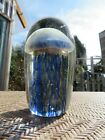 Dynasty Gallery Art Glass Paperweight Jellyfish Blue Gold GLOWS IN THE DARK