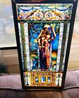 Rare Religious church STAINED stain Glass Antique vtg  Beautiful