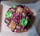 Vintage Signed JEANNE Mid Century Poured Glass Gripox Large 1950s Brooch Pin