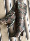 Sam Edelman Snake Print Pointed Toe Tall Shaft Boot Raakel Size 10 M Green