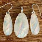 White Multi Color Fused Dichroic Art Glass Jewelry Matching Earrings Pendant S