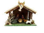 Vintage Italy Nativity Creche Flocked One Piece Ceramic  Wood Set with Angel