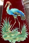 ANTIQUE ENGLISH HANDPAINTED ENAMEL GLASS VASE C1880 Featuring Colorful Crane