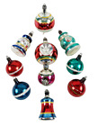 10 Vintage Premier Striped Lantern Bell Indent Ball Glass Christmas Ornaments