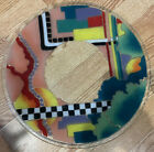 Rare Large Peggy Karr Abstract Design Signed Fused Art Glass Platter 16 Dia