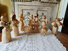 Vintage Corn Husk Nativity Straw Sheep Angels Set Wise Men Christmas Ornaments