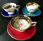 Vintage Lot Of 3 Mismatched China Teacups and Saucers Paragon Aynsley Rosina