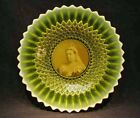 VERY RARE Vaseline Opalescent  SOMERSET  Plate with QUEEN VICTORIA
