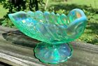 Fenton Willow Green Iridized Footed Shell Bowl Comport F etched on foot