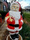 Vintage Santa W Candy Cane Blow Mold Plastic Lighted Grand Venture Christmas