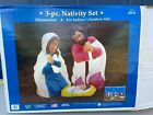 3 Piece Nativity Set Blow Mold Illuminated Indoor Outdoor 28 Mary Joseph Jesus