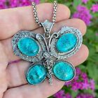 Blue Butterfly Fused Dichroic Art Glass Jewelry Bezel Setting Pendant Necklace