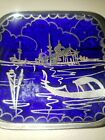 VTG Cobalt Blue Glass Art Deco Ashtray Silver Trim Venice Scene Tobacciana Gift