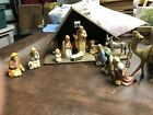 VINTAGE Germany NATIVITY SET CHRISTMAS MANGER SCENE 11 Piece Ceramic  Stable