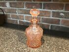 VINTAGE PINK DEPRESSION GLASS DECANTER 7 TALL 10 WITH STOPPER