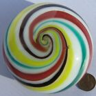 Real Nice Vintage Art Glass Paperweight Yellow Brown Green Swirled